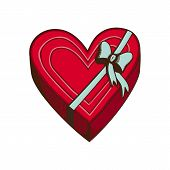 Red heart with ribbon and bow isolated on white.