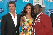 Simon Cowell with Terri Seymour and Randy Jackson  at the American Idol 2008 Grand Finale. Nokia Theatre, Hollwyood, CA. 05-21-08