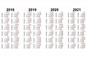 Calendar From 2018 To 2021 Years