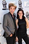 Robert Pattinson and Kristen Stewart  at the 2008 MTV Movie Awards. Gibson Amphitheatre, Universal City, CA. 06-01-08