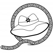 cowboy hat and rope stamp