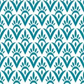Simple floral geometric ikat seamless pattern in blue, vector