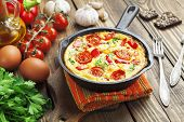 Omelet With Vegetables And Cheese. Frittata