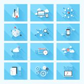 stock photo of analysis  - Vector illustration concept of SEO optimization data analysis and storage cloud computing and program coding isolated on blue background with long shadow - JPG