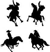 stock photo of bucking bronco  - Illustration of cowboy silhouettes on horseback black on white - JPG