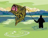 Fisherman catching a largemouth bass