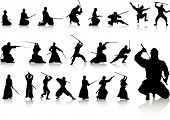 image of ninja  - vector collection of ninjas isolated on white - JPG