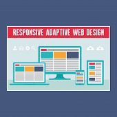 Responsive Adaptive Web Design - Digital Devices in Flat Design Style.