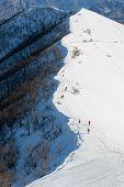 People Walking On Ridge, Mount San Primo (north Italy)