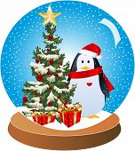 Christmas-Penguin Snow Globe with Red