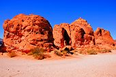 image of valley fire  - Vibrant red rock formations at Valley of Fire State Park - JPG