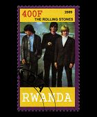 Rolling Stones Postage Stamp From Rwanda