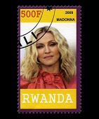 Madonna Postage Stamp From Rwanda