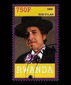 Bob Dylan Postage Stamp From Rwanda