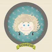Zodiac signs collection. Cute horoscope - SCORPIO.