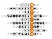 nutrition facts concept (orange-white crossword series)
