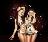 Firework & Fancy Dress Party. Showgirls Over Sparkling Background
