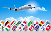 Airplane travel background with flags of different countries.