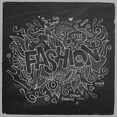 Fashion Vector hand lettering On Chalkboard