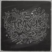 Travel Summer Vector hand lettering On Chalkboard