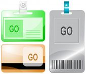 Go. Id cards. Raster illustration.
