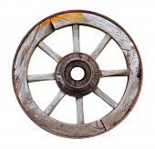 Old Wooden Wheel On White Background