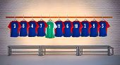 Green and Blue Football Shirts 3-5