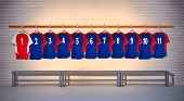 Red and Blue Football Shirts 1-11