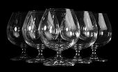 Empty brandy glasses