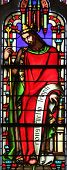 PARIS, FRANCE - NOV 11, 2012: King Solomon, stained glass from Church of St-Germain-l'Auxerr ois fou
