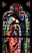 PARIS, FRANCE - NOV 11, 2012: Angel, stained glass from Church of St-Germain-l'Auxerr ois founded in