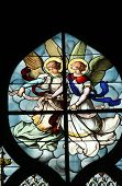 PARIS, FRANCE - NOV 11, 2012: Angels, stained glass.The Church of St Severin is Catholic church in t