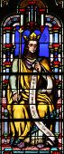 PARIS, FRANCE - NOV 11, 2012: Stained glass from Church of St-Germain-l'Auxerr ois founded in the 7t