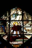 PARIS, FRANCE - NOV 11, 2012: Saint Charles Borromeo, stained glass. The Church of St Severin is Cat