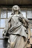 PARIS, FRANCE - NOV 09, 2012: Saint Agnes of Rome, architectural details of Eglise de la Madeleine.