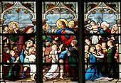 PARIS, FRANCE - NOV 11, 2012: Jesus Friend of Little Children, stained glass.The Church of St Severi