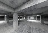 Empty Abstract Industrial Concrete Interior. 3D Illustration