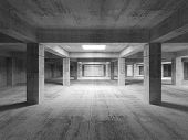 Empty Dark Abstract Industrial Concrete Interior. 3D Illustration