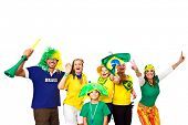 Brazilian fans half body celebrating and cheering on footer / white background