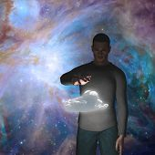 Man with power over raincloud Elements of this image furnished by NASA