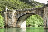 Old Stone Bridge Over Ebro River.