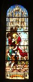 PARIS, FRANCE - NOV 11, 2012: Saint Martin, stained glass.The Church of St Severin is Catholic churc