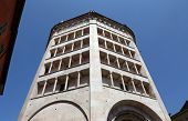 PARMA, ITALY - MAY 01, 2014: Baptistery on Piazza del Duomo in Parma from Benedetto Antelami. Baptis