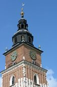 KRAKOW, POLAND - SEPTEMBER 15, 2013: Town Hall Tower against the blue sky. Gothic 70-meter-tall towe