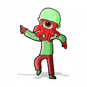 cartoon alien man dancing