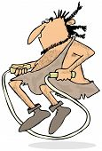 Caveman jumping rope