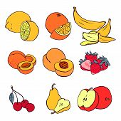 Set Of Various Fruit: Banana, Peach, Strawberry, Cherry, Pear, Lemon, Orange, Apricot, Apple
