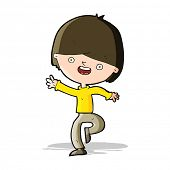 cartoon happy boy dancing