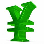 Green Yen Or Yuan Sign On White