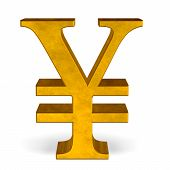 Golden Yen Or Yuan Sign On White Front View